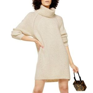 TOPSHOP Turtleneck Sweater Dress In Oat
